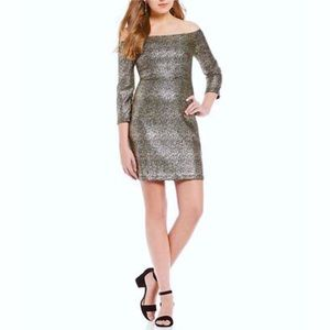 Gianni Bini Metallic Off Shoulder Dress XS Stretch